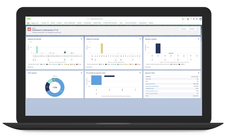 Dashboard Sage Gestión y Finanzas en PC