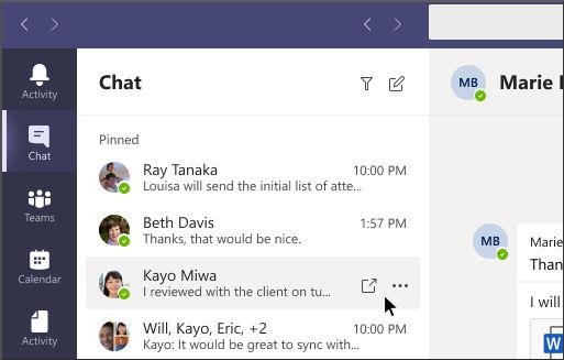 Chat Emergente MS Teams
