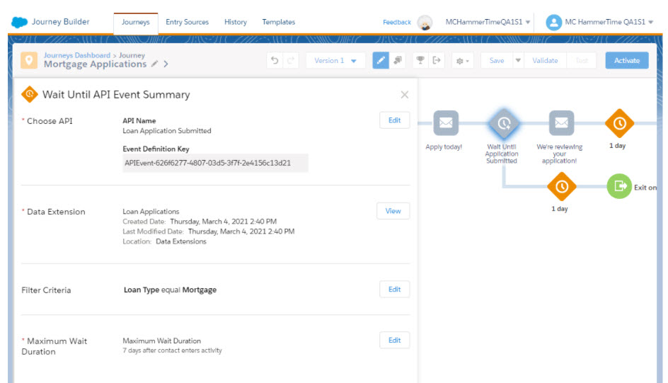 actividad de espera hasta evento de API